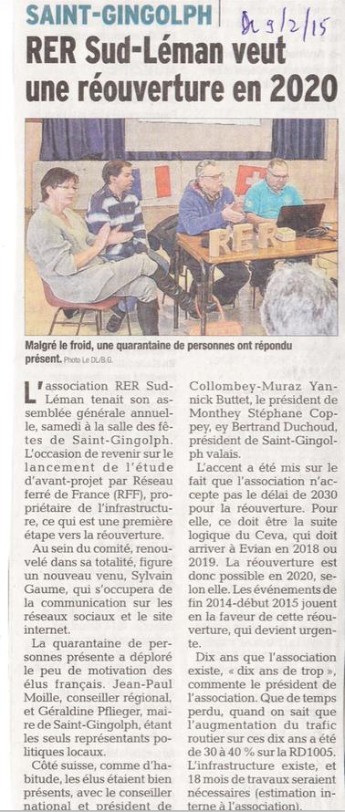Le Dauphiné Libéré du 09.02.2015
